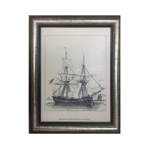 Wooden Tableau Black and White Ship 36x46 cm - OYA12