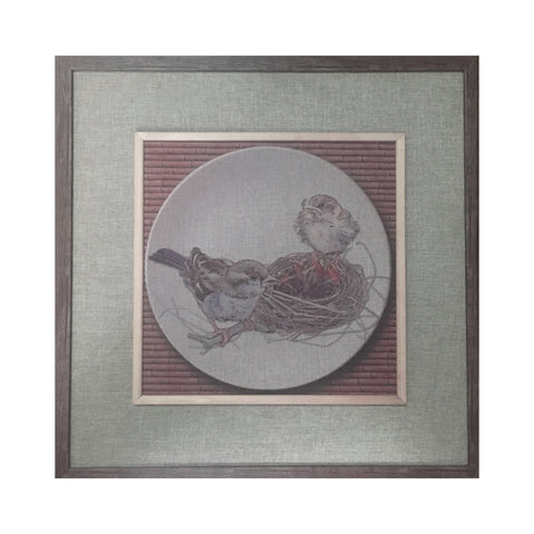 Wooden Tableau Two Birds and Nest 64x64 cm - OYA6