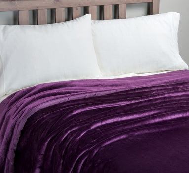 Percale Throw 2 Pieces Set (2 Throws (170x240 cm)) Purple- 2154P