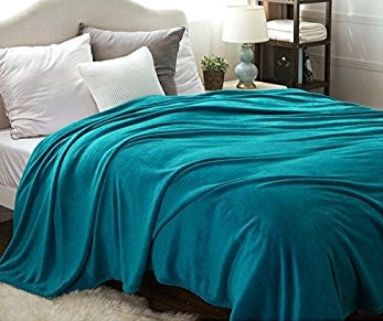 Percale Throw 2 Pieces Set (2 Throws (170x240 cm)) Turquoise- 2154T