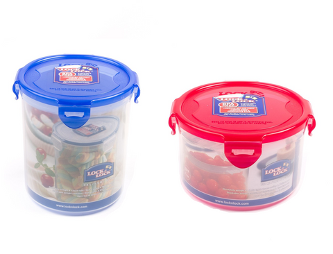 Lock & Lock 2 Piece Plastic Container Set (750ml +1.4L) Multicolour - HPL933BSA2C