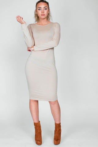 Long Sleeve Bodycon Dress Nude