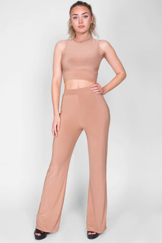 Stretch Two Piece Flare and Crop Camel