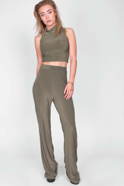 Stretch Two Piece Flare and Crop Khaki