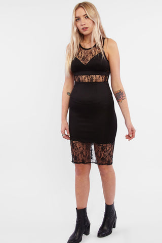 Black Lace Cut Out Dress