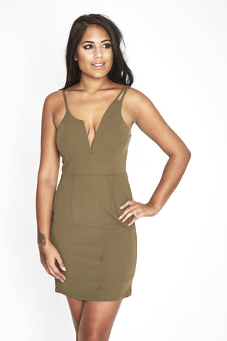 Malin Love Island Khaki Party Dress