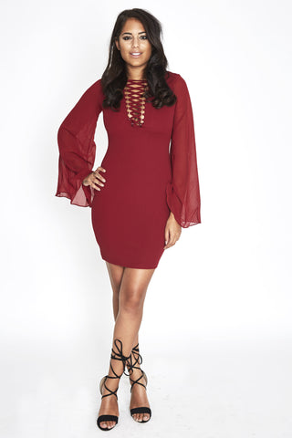 Malin Lace Up Dress Scarlet