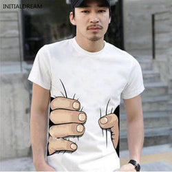3D Big hand cotton Mens T-shirt