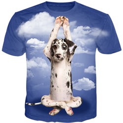 Mens 3D Cross Legged Dog T-Shirt