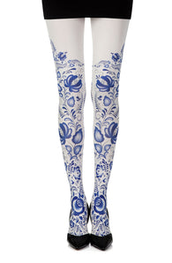 Zohara Blue Orchid? Cream Print Tights - CoCo Nells