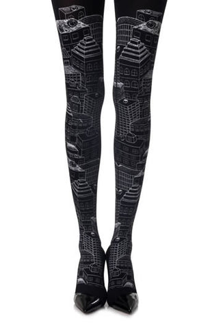 "Zohara ""Big City Light"" Black Print Tights"
