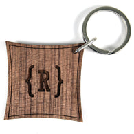 Swirl Bracket Monogram Walnut Keyring