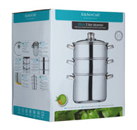 KitchenCraft 20cm Clearview Stainless Steel 3-tier Steamer