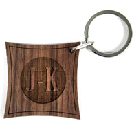 Reverse Contemporary Monogram Walnut Keyring