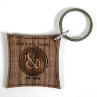 Couple's Monogram Walnut Keyring