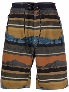 And Wander striped mountain-print shell shorts