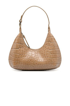 By Far Baby Amber crocodile embossed tote