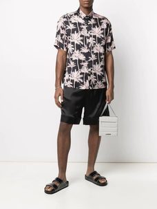 Laneus palm tree print short-sleeved shirt