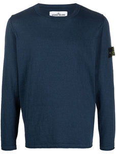 Stone Island fine-knit logo-patch jumper