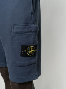 Stone Island logo-patch cotton track shorts