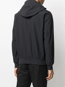Stone Island zip-up logo-patch hoodie