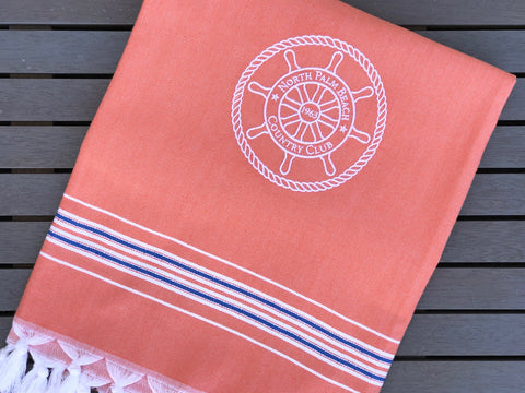 Orange Turkish Towel with white embroidery