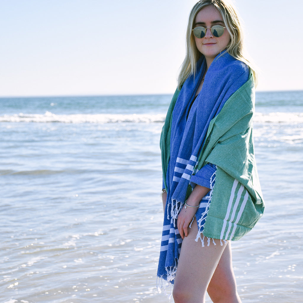 Best beach towel is the Club Turkish towel in blue or green