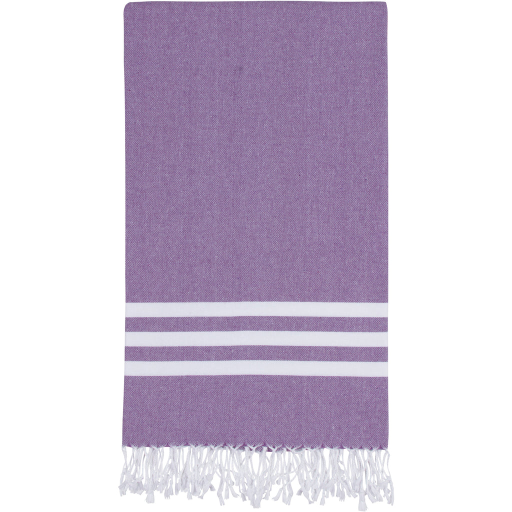 Purple Turkish towel with three white stripes