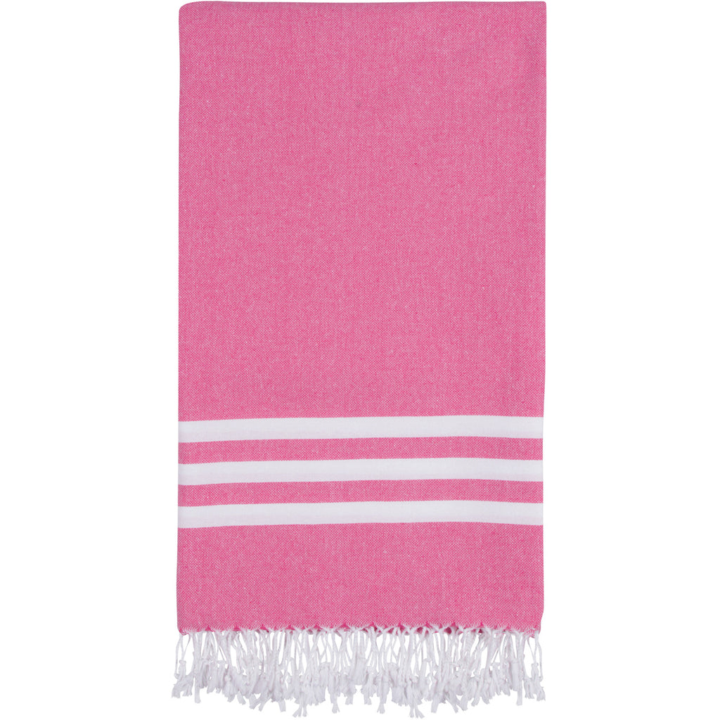 Pink Turkish towel with three white stripes