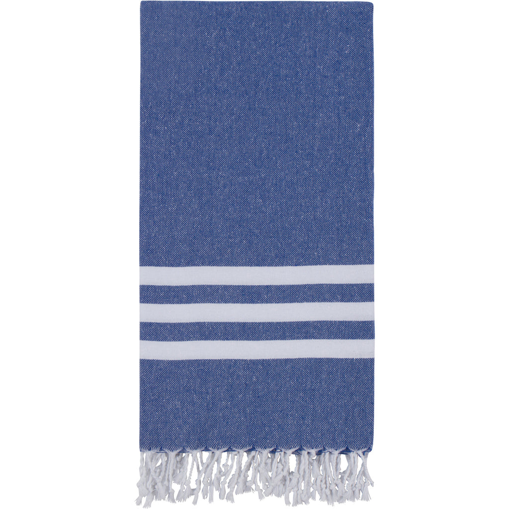 Blue Turkish towel with three white stripes