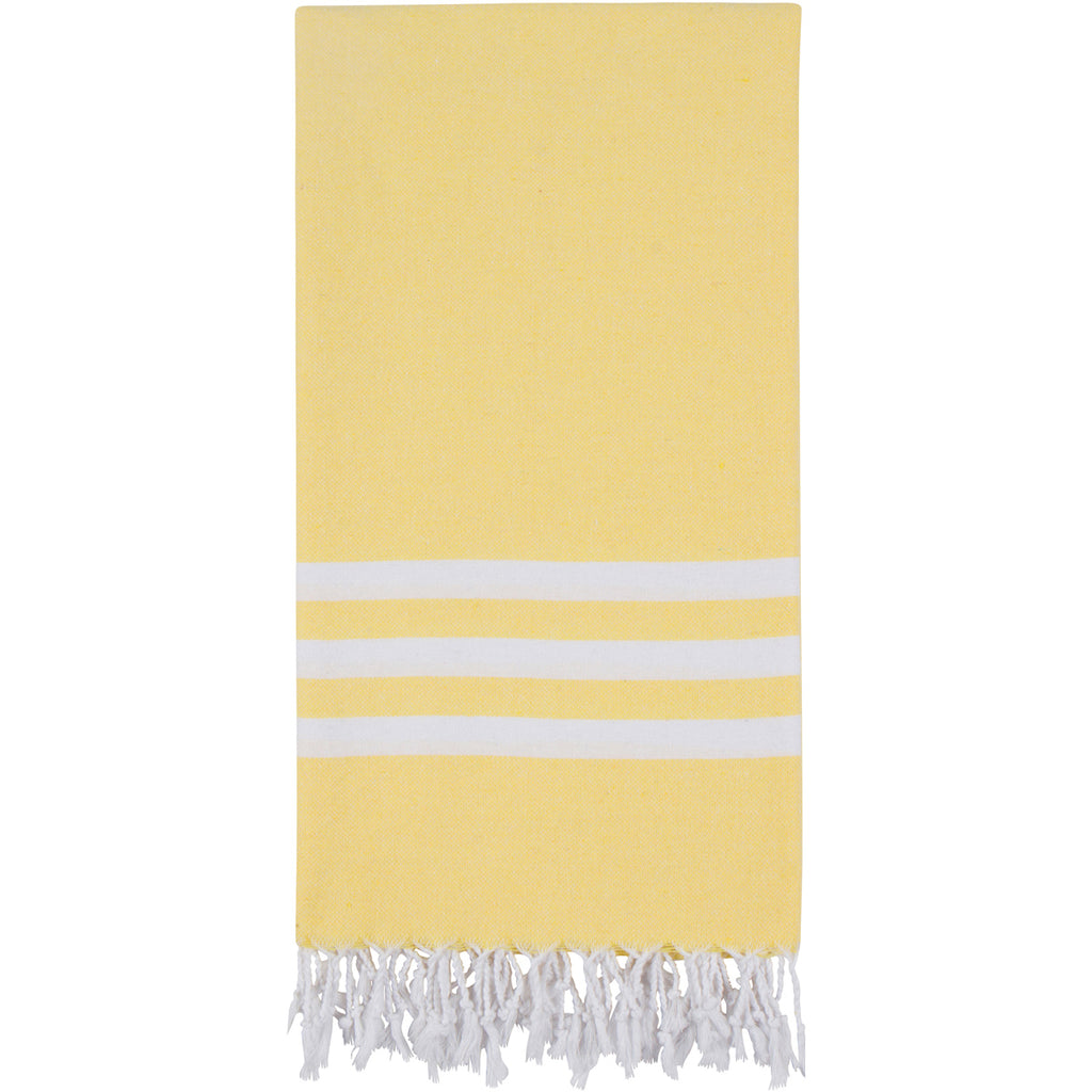 Yellow Turkish towel with three white stripes
