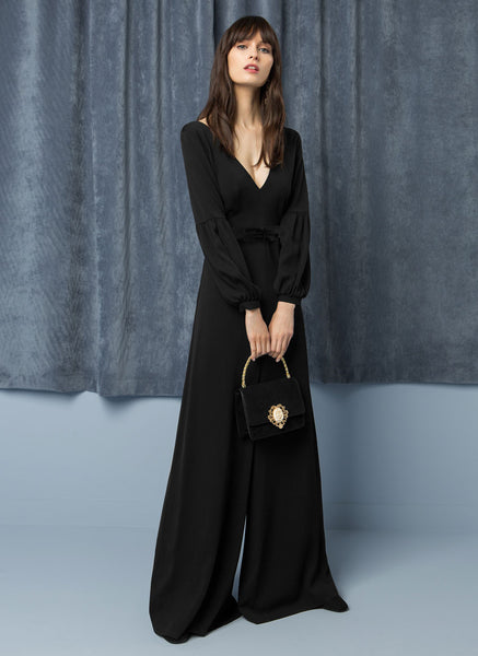 Long black Jumpsuit - Mrs Finch, Latest fashion, how to wear styles, celebrity fashion