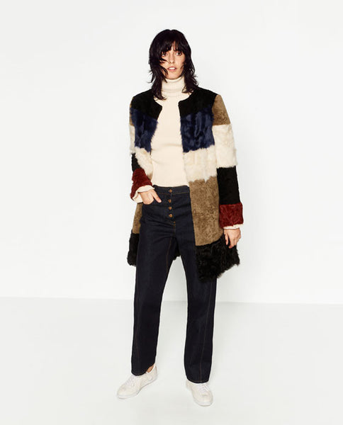 Patchwork coat - Zara - Mrs Finch, Latest fashion, how to wear styles, celebrity fashion