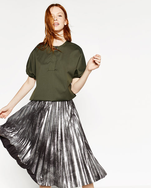 Metallic pleated skirt - Mrs Finch, Latest fashion, how to wear styles, celebrity fashion