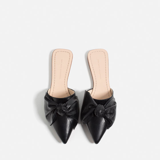 Zara leather slides with bow - Mrs Finch, Latest fashion, how to wear styles, celebrity fashion