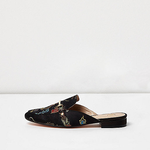 Limited Edition black printed satin backless loafers - Mrs Finch, Latest fashion, how to wear styles, celebrity fashion