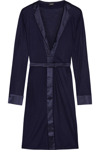 Morgane silk satin trimmed stretch jersey robe - Mrs Finch, Latest fashion, how to wear styles, celebrity fashion