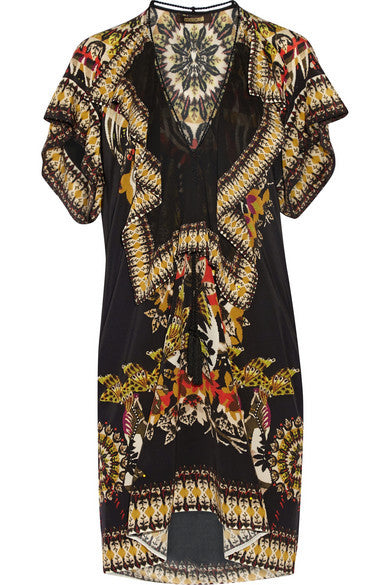 Roberto Cavalli printed silk crepe-de-chine mini dress - Mrs Finch, Latest fashion, how to wear styles, celebrity fashion