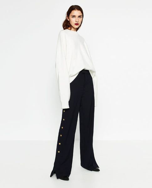 Zara trousers with gold side buttons - Mrs Finch, Latest fashion, how to wear styles, celebrity fashion