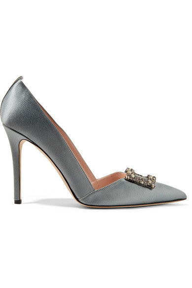 Windsor crystal-embellished satin pumps - SJP Collection - Mrs Finch, Latest fashion, how to wear styles, celebrity fashion
