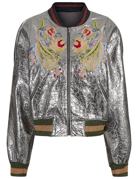Silver bomber jacket - Mrs Finch, Latest fashion, how to wear styles, celebrity fashion
