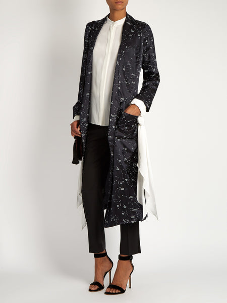 Andromeda constellation print satin coat - Mrs Finch, Latest fashion, how to wear styles, celebrity fashion