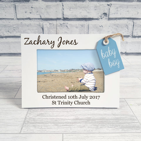 Engraved Wooden Baby Boy Frame