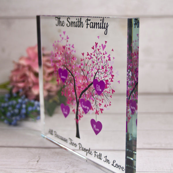 Large Glass Family Tree (with 1-6 names only)