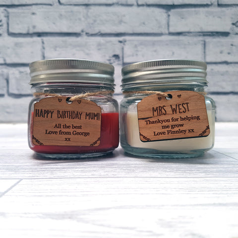 Small Candle Wax Filled Mason Jars With Personalised Tags Multiple Flavours