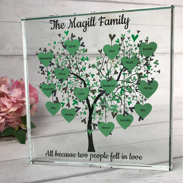 Family Tree - Large Glass (with 7-15 names)