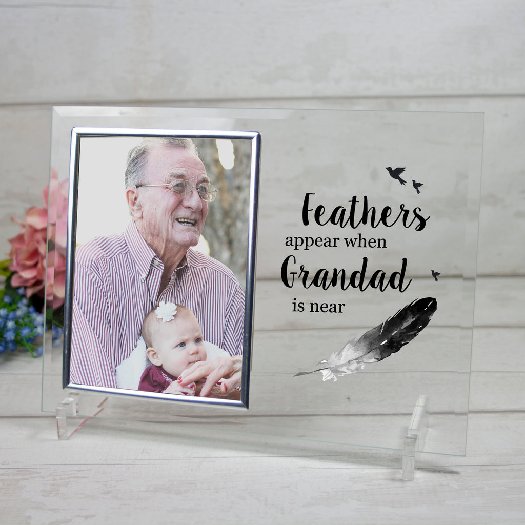 Feathers Appear When... Personalised Glass Picture Frame