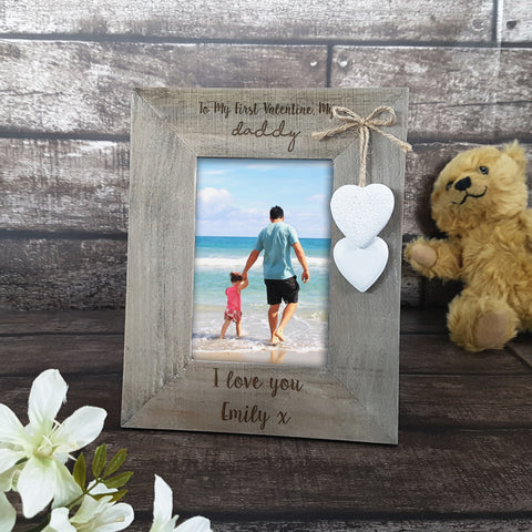 Personalised 'Daddy and Daughter' Rustic Wooden Valentines Frame