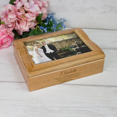Oak Jewellery Box with Photo Lid