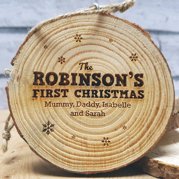 Personalised Christmas Wood Slice Decoration - Family First Christmas